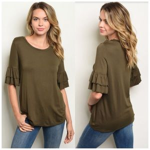 Olive green ruffle sleeve top S, M or L NWT 🍁🍂🌻